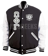 Omega Phi Gamma Varsity Letterman Jacket with Greek Letters and Crest, Black/White