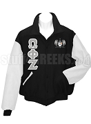 Omega Phi Zeta Varsity Letterman Jacket with Greek Letters and Crest, Black/White