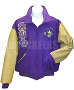 Omega Psi Phi Varsity Letterman Jacket with Greek Letters and Embellished Crest, Purple/Old Gold