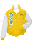 Omicron Delta Kappa Varsity Letterman Jacket with Greek Letters and Crest, Gold/White