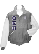 Omicron Epsilon Pi Varsity Letterman Jacket with Greek Letters and Crest, Platinum/White