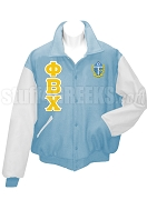Phi Beta Chi Varsity Letterman Jacket with Greek Letters and Crest, Azure Blue/White