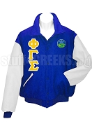Phi Gamma Sigma Letterman Jacket with Greek Letters and Crest, Royal Blue/White