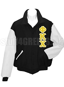 Phi Kappa Chi Varsity Letterman Jacket with Greek Letters, Black/White