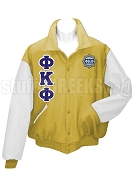 Phi Kappa Phi Letterman Jacket with Greek Letters and Crest, Old Gold/White