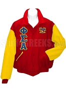 Phi Sigma Alpha Varsity Letterman Jacket with Greek Letters and Crest, Red/Gold
