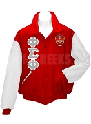 Phi Sigma Phi Varsity Letterman Jacket with Greek Letters and Crest, Cardinal Red/White
