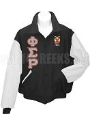 Phi Sigma Rho Varsity Letterman Jacket with Greek Letters and Crest, Black/White