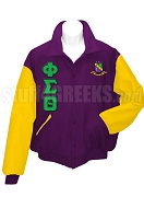 Phi Sigma Theta Varsity Letterman Jacket with Greek Letters and Crest, Purple/Gold