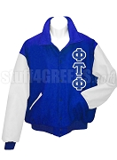 Phi Tau Phi Varsity Letterman Jacket with Greek Letters, Royal BlueWhite