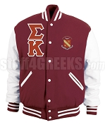Sigma Kappa Greek Letter Varsity Letterman Jacket with Crest, Maroon