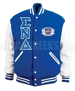 Sigma Nu Delta Greek Letter Varsity Letterman Jacket with Crest, Royal