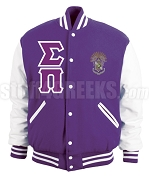 Sigma Pi Greek Letter Varsity Letterman Jacket with Crest, Purple