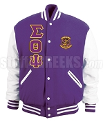 Sigma Theta Psi Greek Letter Varsity Letterman Jacket with Crest, Purple