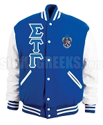 Sigma Tau Gamma Greek Letter Varsity Letterman Jacket with Crest, Royal