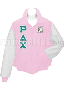 Rho Delta Chi Varsity Letterman Jacket with Greek Letters and Crest, Pink/White