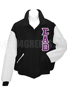 Sigma Alpha Beta Varsity Letterman Jacket with Greek Letters, Black/White