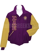 Sigma Alpha Epsilon Varsity Letterman Jacket with Greek Letters and Crest, Purple/Old Gold