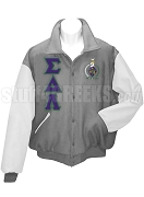 Sigma Delta Lambda Varsity Letterman Jacket with Greek Letters and Crest, Light Gray/White