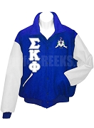 Sigma Kappa Phi Varsity Letterman Jacket with Greek Letters and Crest, Royal Blue/White