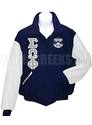 Sigma Omega Phi Varsity Letterman Jacket with Greek Letters and Crest, Navy Blue/White