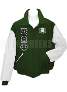 Sigma Omega Phi Varsity Letterman Jacket with Greek Letters and Crest, Forest Green/White
