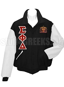 Sigma Phi Delta Varsity Letterman Jacket with Crest and Greek Letters, Black/White