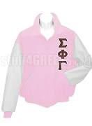 Sigma Phi Gamma Varsity Letterman Jacket with Greek Letters, Pink/White