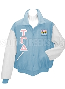 Tau Gamma Delta Varsity Letterman Jacket with Greek Letters and Crest, Light Blue/White