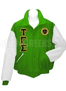 Tau Gamma Sigma Varsity Letterman Jacket with Crest and Greek Letters, Kelly Green/White