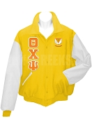 Theta Chi Psi Varsity Letterman Jacket with Greek Letters and Crest, Gold/White