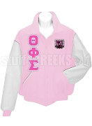 Theta Phi Sigma Varsity Letterman Jacket with Greek Letters and Crest, Pink/White