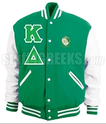Kappa Delta Greek Letter Varsity Letterman Jacket with Crest, Kelly Green/White
