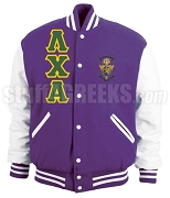 Lambda Chi Alpha Varsity Letterman Jacket with Greek Letters and Crest, Purple/White