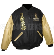 Alpha Phi Alpha 1906 Varsity Letterman Jacket with Motto Under Crest, Black with Tan Sleeves