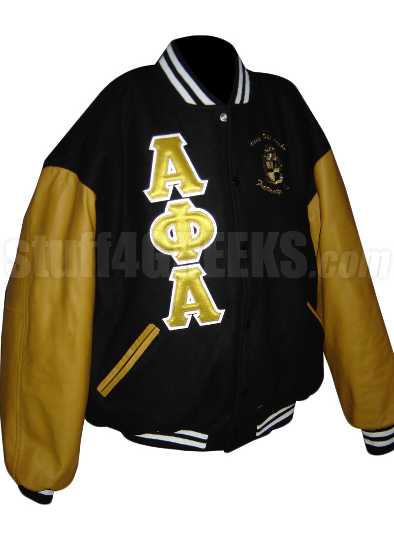 4ebf57a58 Alpha Phi Alpha Greek Letter Varsity Letterman Jacket with Crest, Black  with Old Gold Sleeves - EMBROIDERED With Lifetime Guarantee