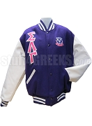 Sigma Lambda Gamma Greek Letter Varsity Letterman Jacket with Crest, Purple with White Sleeves