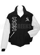 Zeta Phi Zeta Letterman Jacket with Greek Letters and Crest, BlackWhite