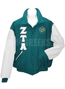 Zeta Tau Alpha Varsity Letterman Jacket with Greek Letters and Crest, Turquoise/White