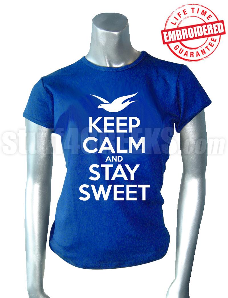 Zeta Phi Beta Keep Calm T Shirt Royal Blue Embroidered With