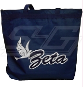 Zeta Phi BetaTote Bag with Tiple Layer Script Organization Name and Dove, Navy Blue