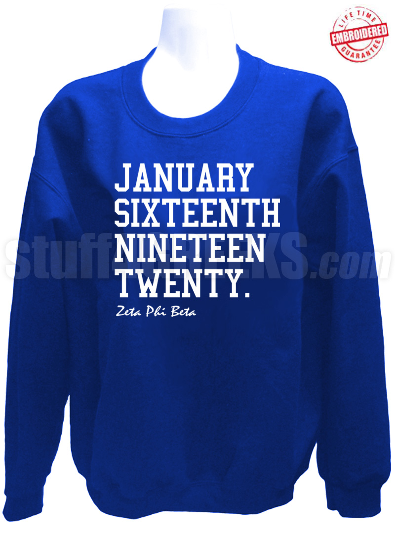 Zeta Phi Beta Founding Date Sweatshirt Royal Blue Embroidered