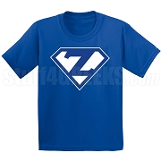 Zeta Phi Beta Screen Printed T-Shirt with Letters Inside Superman Shield, Royal Blue