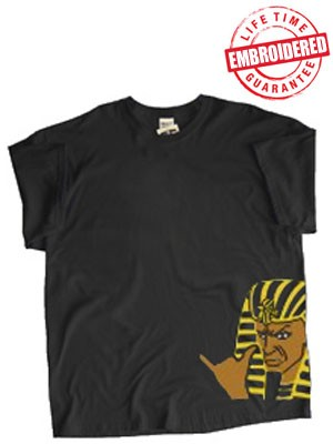 Pharaoh Corner Design (Mascot #2) Black T-Shirt - EMBROIDERED with Lifetime Guarantee