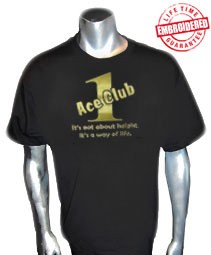 Black/Old Gold Ace Club (Generation 1) T-Shirt - EMBROIDERED with Lifetime Guarantee