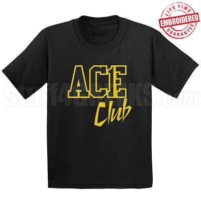 Ace Club Black/Old Gold T-Shirt - EMBROIDERED with Lifetime Guarantee