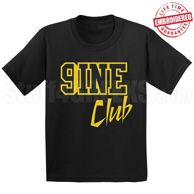 9/Nine Club Black/Old Gold T-Shirt - EMBROIDERED with Lifetime Guarantee