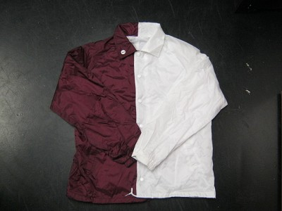 Clearance: Burgundy/White Two-Tone Coaches Jacket, Size SMALL, Blank