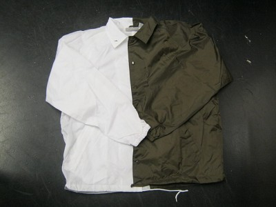 Clearance: White/Brown Two-Tone Coaches Jacket, Size 2XL, Blank