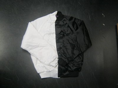Clearance: White/Black Two-Tone Satin Baseball Jacket, Size SMALL, Blank